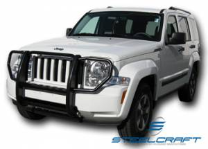 B Exterior Accessories - Grille Guards - Steelcraft - Steelcraft 52170 Black Grille Guard Jeep Liberty (2008-2013)