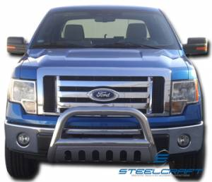 """Steelcraft 71010 3"""" Bull Bar for (1999 - 2004) Ford F250/F350/F450/F550HD Super Duty in Stainless Steel"""