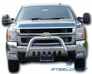 """B Exterior Accessories - Grille Guards - Steelcraft - Steelcraft 70020 3"""" Bull Bar for (2001 - 2007) GMC Sierra in Stainless Steel"""