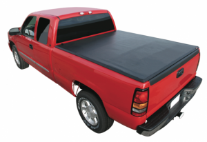 Premium Soft Vinyl Tri-Folding - Mitusbishi - Rugged Cover - Rugged Cover FCDD508TS Premium Folding Tonneau Cover Mitusbishi Raider 5' bed (with utility track) (w/T/G spoiler) (2008-2013)