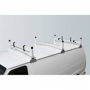 Vantech Racks - Fullsize Van Racks - Vantech - Vantech H1063W 3 Bar Rack White Steel Dodge Ram Van 1981-2012