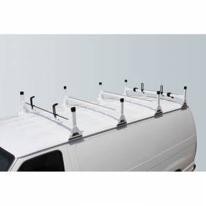 Vantech Racks - Fullsize Van Racks - Vantech - Vantech H1064W 4 Bar Rack White Steel Dodge Ram 1981-2012