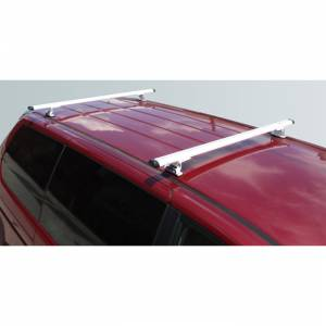 "Vantech Racks - Midsize Van Racks - Vantech - Vantech J1000W White Rack System with 50"" Cross Bars White Aluminum Drilling Required"