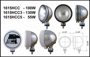 "Eagle Eye Lights - Eagle Eye Lights 1615HCC3 6"" Chrome 12V 130W Spot Clear Round Halogen Off Road Light with ABS Cover Each"