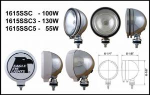 "Eagle Eye Lighting | HID and Non HID Lights - Non HID Lighting - Eagle Eye Lights - Eagle Eye Lights 1615SSC3 6"" Stainless Steel 12V 130W Spot Clear Round Halogen Off Road Light with ABS Cover Each"