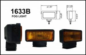"Eagle Eye Lights - Eagle Eye Lights 1633B 6 1/8"" Black Resin 12V 55W Fog Rectangular Halogen Auxiliary Light with HI-Impact Flip Cover 320A Wiring Set"