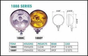 "Eagle Eye Lighting | HID and Non HID Lights - Non HID Lighting - Eagle Eye Lights - Eagle Eye Lights 1888Y 3 5/8"" Stainless Steel 12V 55W Spot Yellow Round Halogen Off Road Light Set"