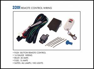Eagle Eye Lighting | HID and Non HID Lights - Non HID Lighting - Eagle Eye Lights - Eagle Eye Lights 320I PUSH BUTTON REMOTE CONTROL Wiring Kit for 2 Lights Pre-Assembled Wiring 16 Gauge Wiring 30 AMP Relay Kit