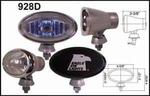 "Eagle Eye Lights - Eagle Eye Lights 928D 4 5/8"" Aluminum DieCast SILVER 12V 100W Superwhite Driving Clear Oval Halogen Off Road Light with ABS Cover Set"