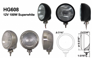 """Eagle Eye Lighting   HID and Non HID Lights - 6"""" HID Internal Lights - Eagle Eye Lights - Eagle Eye Lights HID608BF50W 6 3/16"""" Black 50W Internal Ballast HID Flood Clear Round HID Off Road Light with ABS Cover Each"""