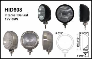 "Eagle Eye Lighting | HID and Non HID Lights - 6"" HID Internal Lights - Eagle Eye Lights - Eagle Eye Lights HID608SD 6 3/16"" Stainless Steel 35W Internal Ballast HID Driving Clear Round HID Off Road Light with ABS Cover Each"