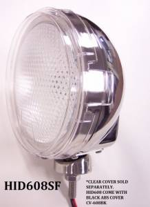 """Eagle Eye Lighting   HID and Non HID Lights - 6"""" HID Internal Lights - Eagle Eye Lights - Eagle Eye Lights HID608SF 6 3/16"""" Stainless Steel 35W Internal Ballast HID Flood Clear Round HID Off Road Light with ABS Cover Each"""