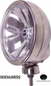 """Eagle Eye Lighting   HID and Non HID Lights - 6"""" HID Internal Lights - Eagle Eye Lights - Eagle Eye Lights HID608SS 6 3/16"""" Stainless Steel 35W Internal Ballast HID Spot Clear Round HID Off Road Light with ABS Cover Each"""
