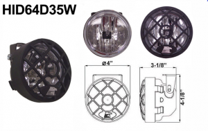 """Eagle Eye Lights HID64D35W 4"""" Black Resin 35W External Ballast HID Driving Clear Round HID Off Road Light with Grille Guard Each"""