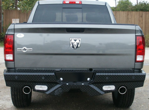 Truck Bumpers - Frontier Gear - Frontier 100-40-9004 Rear Bumper with Sensor Holes and Lights Dodge 1500 Dual Exhaust 2009-2016