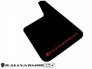 "Mud Flaps by Vehicle - Mud Flaps for Cars - Rally Armor - Universal UR Plus Black Mud flap with Red Logo 11.5"" x 19"""