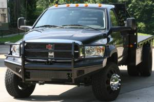 Black Steel Bumpers by Fab Fours - Dodge HD 2006-2009 - Fab Fours - Fab Fours DR06-S1160-1 Black Steel Front Bumper Full Grille Guard Dodge 2500/3500 2006-2009