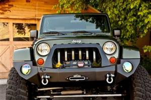 Bumpers - Jeep Bumpers - Rock Slide Engineering - Rock Slide Engineering - Rock Slide FB-F-100-JK Rigid Front Bumper Jeep Wrangler JK 2007-2017