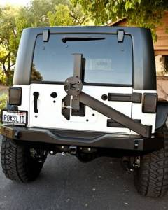 Bumpers - Jeep Bumpers - Rock Slide Engineering - Rock Slide Engineering - Rock Slide RB-F-100-JK Rigid Rear Bumper with Tire Carrier Jeep Wrangler JK 2007-2017