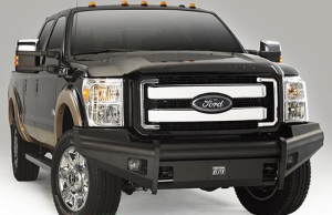 Truck Bumpers - Fab Fours Black Steel Elite - Ford F250/F350 1999-2004
